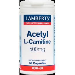 ACETYL-L-CARNITINE (ΑΚΕΤΥΛΟ L-ΚΑΡΝΙΤΙΝΗ) LAMBERTS 500mg 60caps ΜΝΗΜΗ
