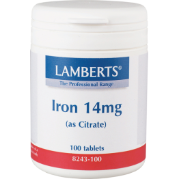 IRON (as CITRATE) - (ΚΙΤΡΙΚΟΣ ΣΙΔΗΡΟΣ) LAMBERTS 14mg 100tabs ΑΝΑΙΜΙΑ