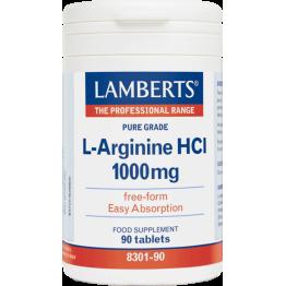 L-ARGININE HCL (ΑΡΓΙΝΙΝΗ) LAMBERTS 1000mg 90tabs ΕΝΔΥΝΑΜΩΣΗ & ΑΝΑΠΛΑΣΗ