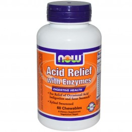ACID RELIEF with Enzymes (ΜΑΣΩΜΕΝΑ ΔΙΣΚΙΑ ΑΝΤΙΟΞΙΝΩΝ ΚΑΙ ΠΕΠΤΙΚΩΝ ΕΝΖΥΜΩΝ) NOW FOODS 60 chewables