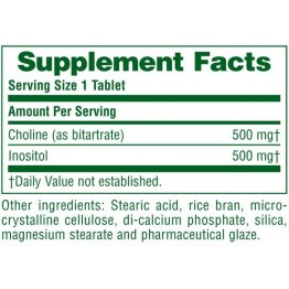 CHOLINE & INOSITOL 500/500 (ΧΟΛΙΝΗ & ΙΝΟΣΙΤΟΛΗ) NATURE'S PLUS 60tabs
