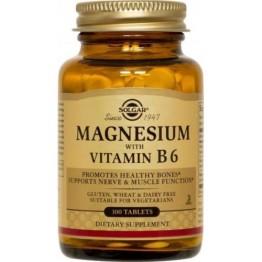 MAGNESIUM + B6 (ΜΑΓΝΗΣΙΟ ΜΕ ΒΙΤΑΜΙΝΗ Β-6) SOLGAR tabs 100s ΜΥΑΛΓΙΕΣ